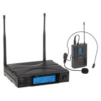 Draadloos microfoon systeem met pocket zender en headset True Diversity 300 kanalen Soundsation WF-U1300P